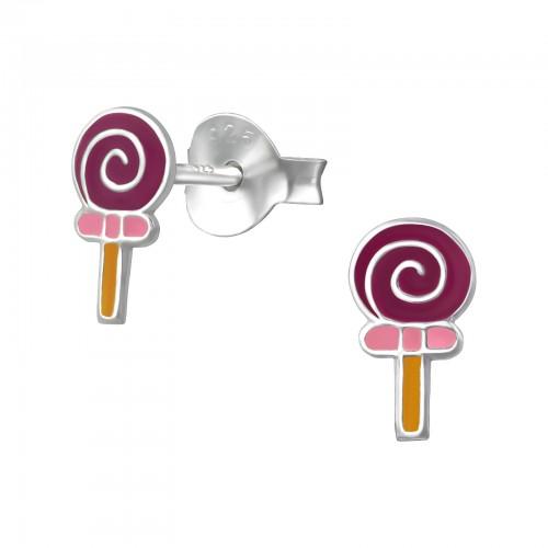zilveren kinder oorbellen lolly