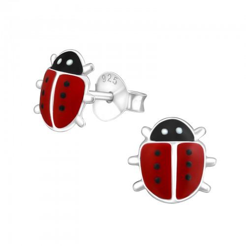 zilveren kinder oorbellen lieveheersbeestje