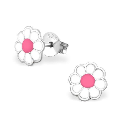 wit roze bloemetjes kinder oorbellen