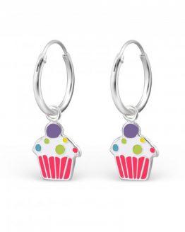 zilveren creolen kinder oorbellen met cupcake