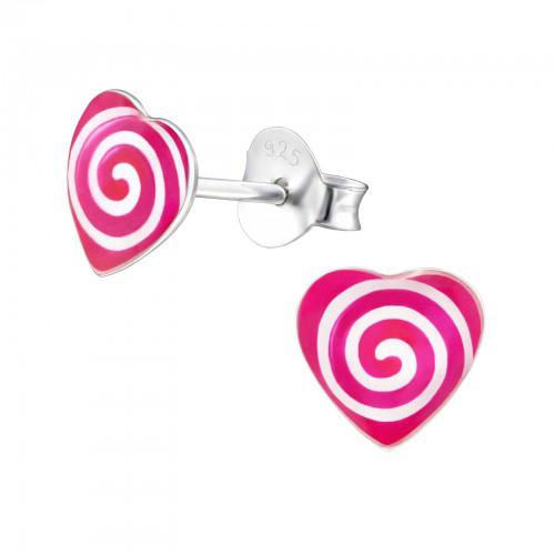 zilveren kinderoorbellen met roze hartje