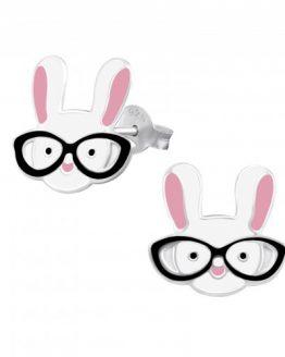 zilveren kinderoorbellen konijn met bril