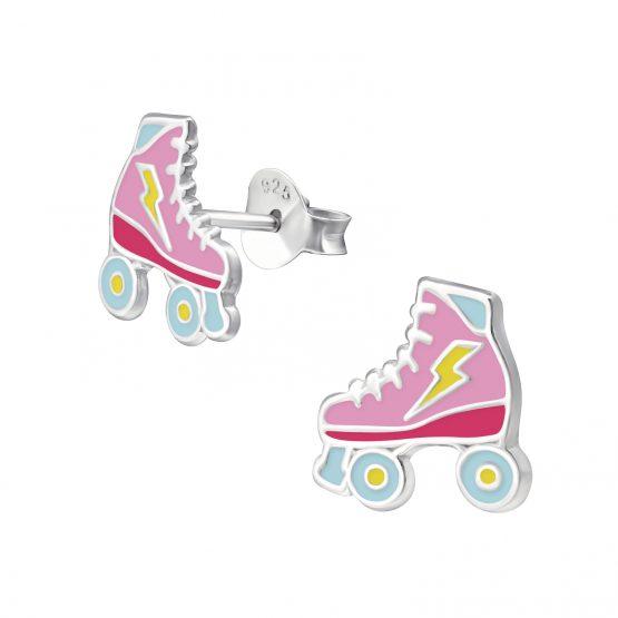 zilveren kinder oorbellen rolschaatsen