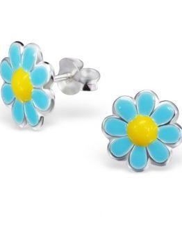 blauw/gele kinderoorbellen met bloemetjes