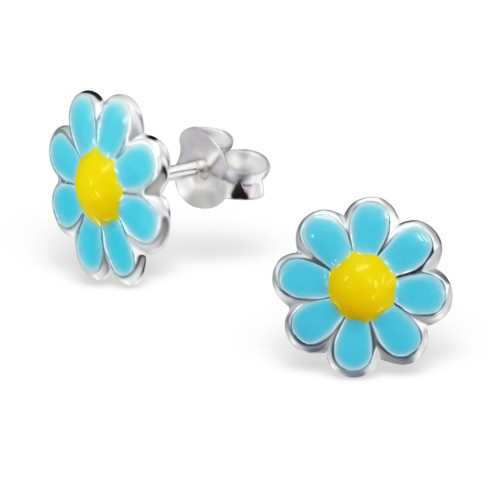 blauw gele kinderoorbellen met bloemetjes