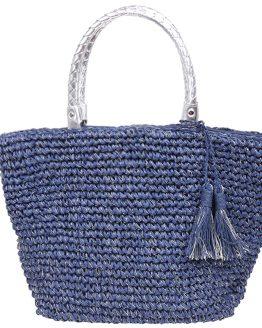 blauwe strandtas met glitters