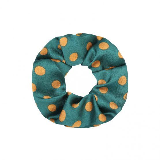 groene scrunchie met gouden stippen