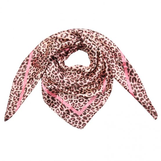 sjaal luipaardprint bruin roze