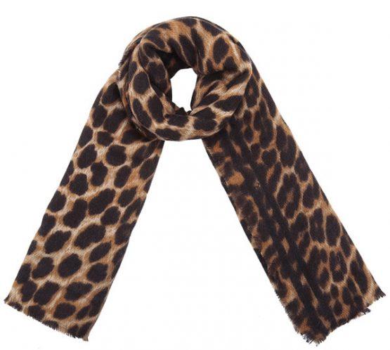 bruine tijgerprint sjaal