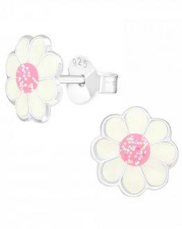 zilveren kinderoorbellen met wit roze bloem en glitters