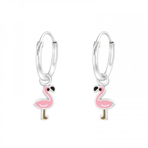 zilveren kinderoorbellen creolen flamingo