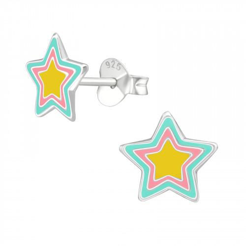 zilveren kinderoorbellen met gekleurde sterren