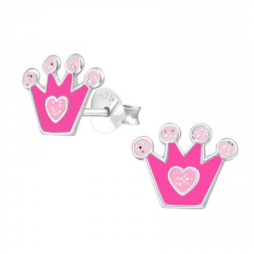 zilveren kinderoorbellen met roze kroontje