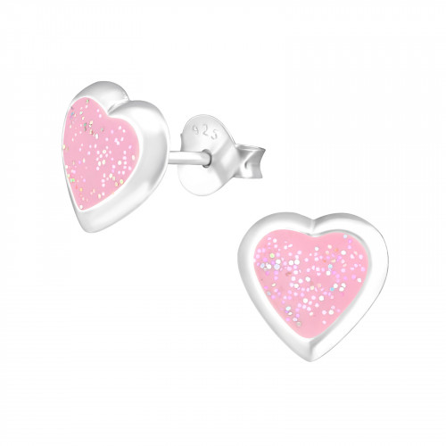 kinderoorbellen roze hartje met glitters